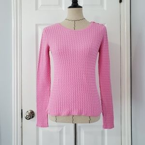 Lilly Pulitzer Pink Cable Knit Pullover Sweater